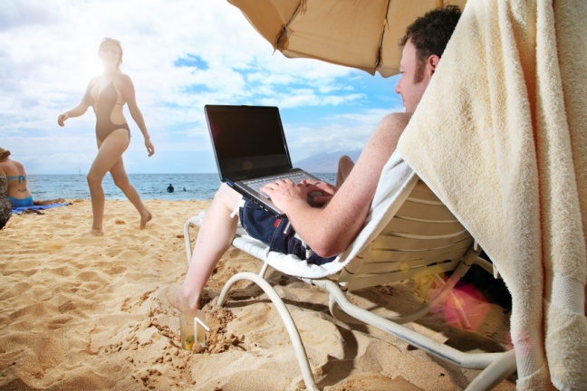 Blogging on the beach